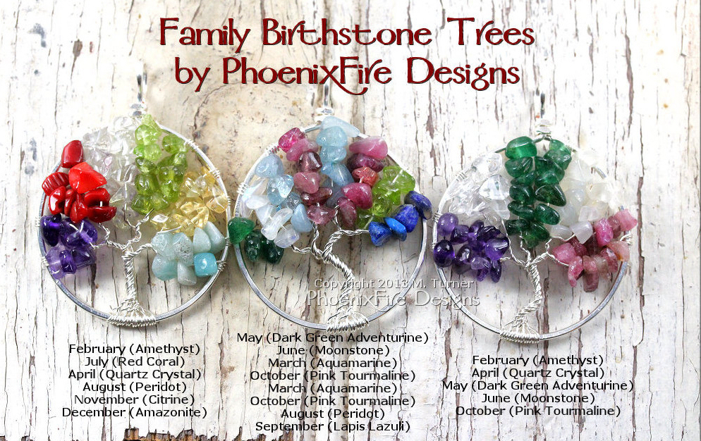 Family Birthstone Tree of Life Pendant examples by PhoenixFire Designs. Using birthstones for children and grandchildren, this family tree celebrates motherhood and family and is customized just for you!