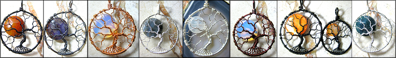 "This is a unique take on the popular Tree of Life pendants I'm famous for. There are no ""leaves"" in this piece. Instead, it celebrates bare branches of a tree against a night sky with a full moon. Available in a variety of wire colors like silver, copper, brown, gunmetal, black and more and a variety of moons from rainbow moonstone, opalite moonstone, shell, labradorite, fire crack agate and more."