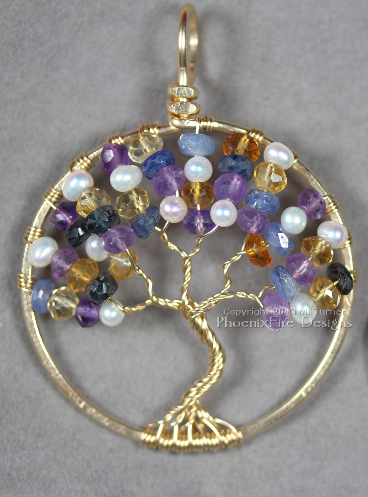 Custom 14k gold fill tree with an assortment of beautiful gemstones including blue sapphire, citrine, amethyst and freshwater pearl.