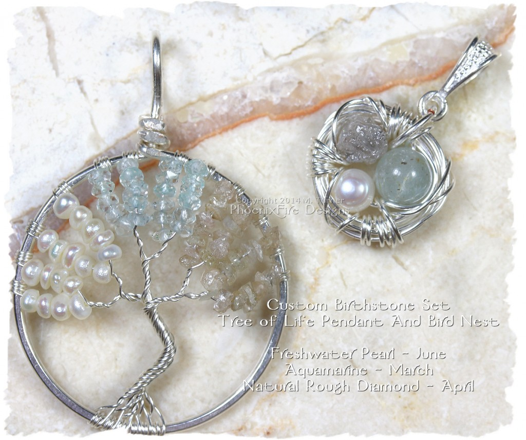 Custom Birthstone Tree of Life Pendant and Matching Bird Nest Pendant set in sterling silver and featuring freshwater pearl (birthstone for June), Aquamarine (birthstone for March) and natural rough diamond (birthstone for April.) Bird nest has the same three gemstones.