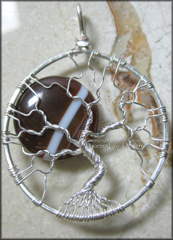 "Full Moon tree with a custom Sardonyx gemstone ""moon"" set in non-tarnish silver plated wire."