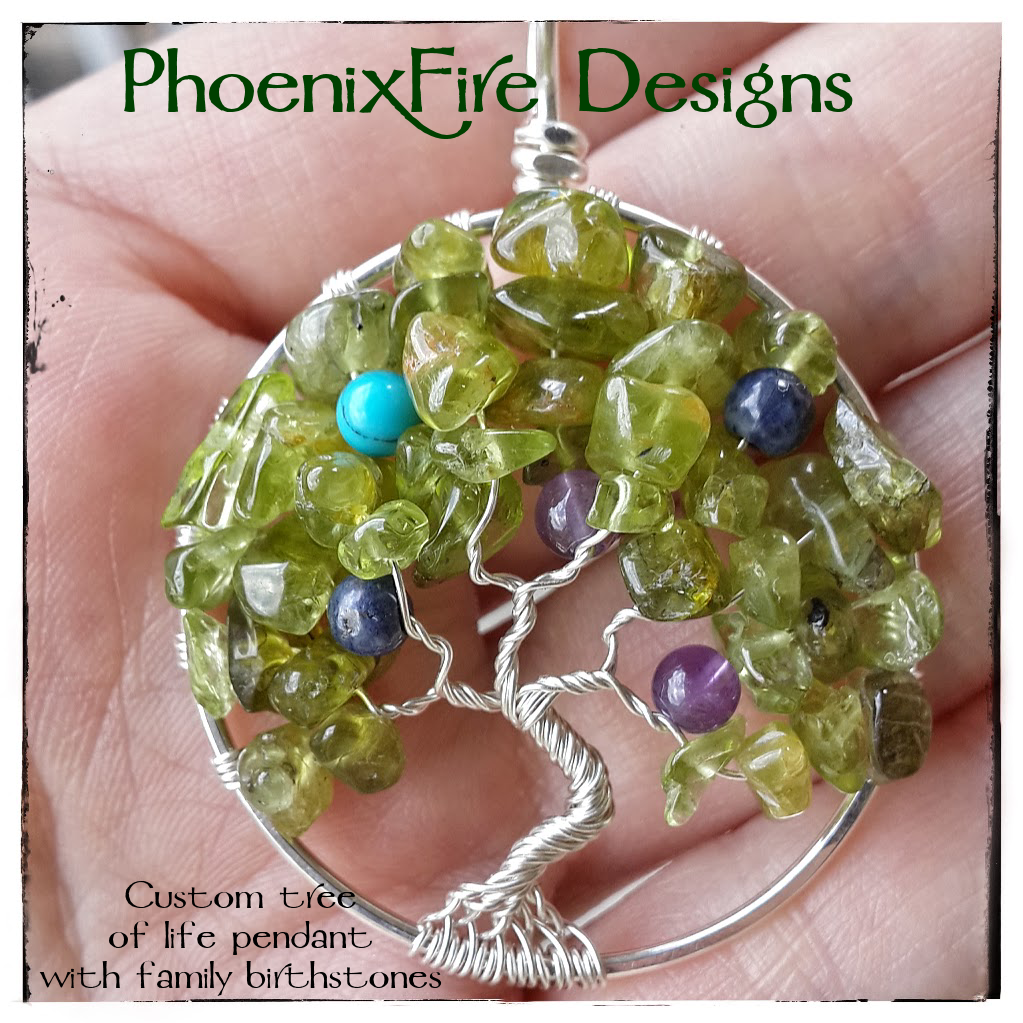 "Family Tree with peridot gemstone leaves and accents of round birthstone ""fruit"" within the branches to represent family."