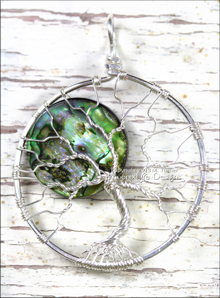 Abalone Shell Full Moon Tree of Life Pendant Handmade, Wire Wrapped, Sterling Silver, Paua