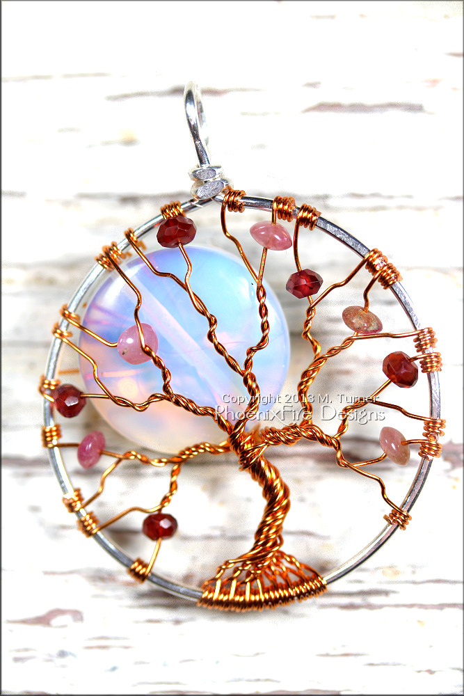 Full Moon Tree Opalite Rainbow Moonstone Pink Tourmaline Garnet Gemstone Accents in Silver and Copper Wire Wrapped