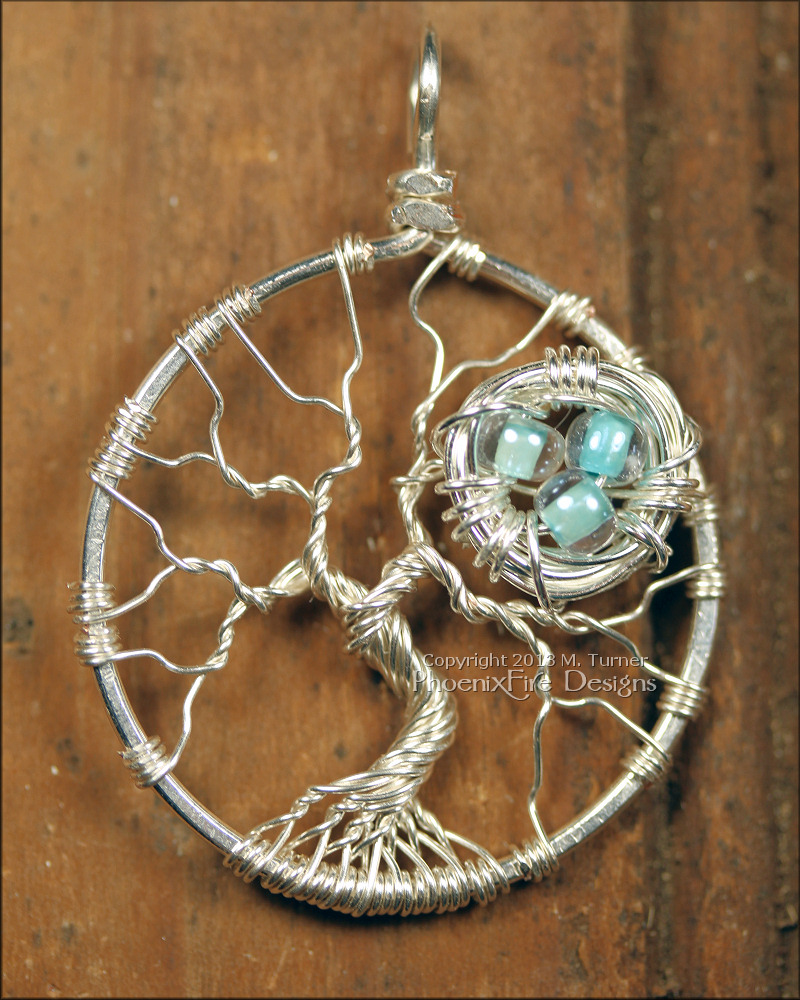 Nest in Tree of Life Pendant Sterling Silver Wire Wrapped, Nest Tree