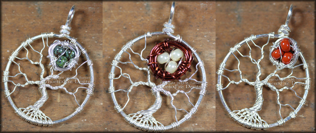 Tree of Life pendants with a small bird nest nestled in the branches of these handmade, wire wrapped sterling silver tree pendants make a unique Mother's Tree celebrating family and children. by PhoenixFire Designs