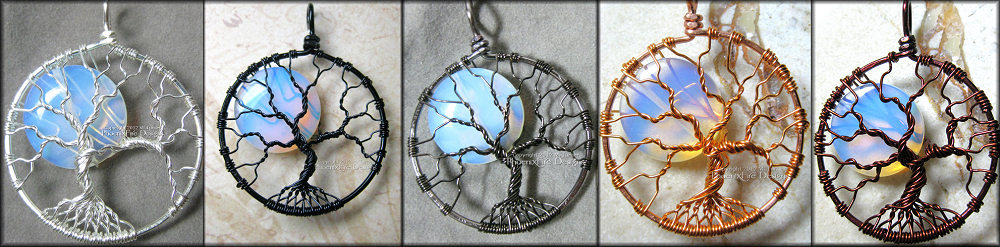 Rainbow Moonstone Full Moon Tree of Life Pendant Black Wire Wrapped Opalite (Luna Lunar Night Sky Mystical) PhoenixFire Designs Miss M. Turner