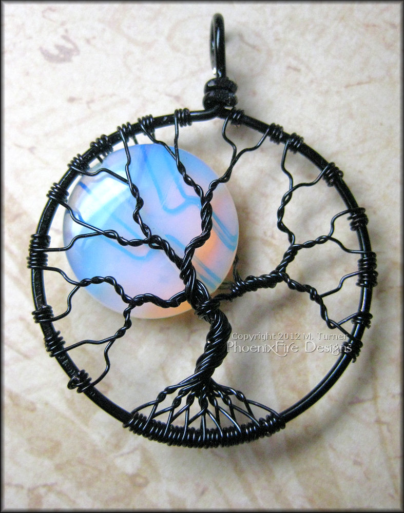 Rainbow Moonstone Full Moon Tree of Life Pendant Black Wire Wrapped Opalite (Luna Lunar Night Sky Mystical) Holiday Gift Idea for Her M. Turner PhoenixFire Designs