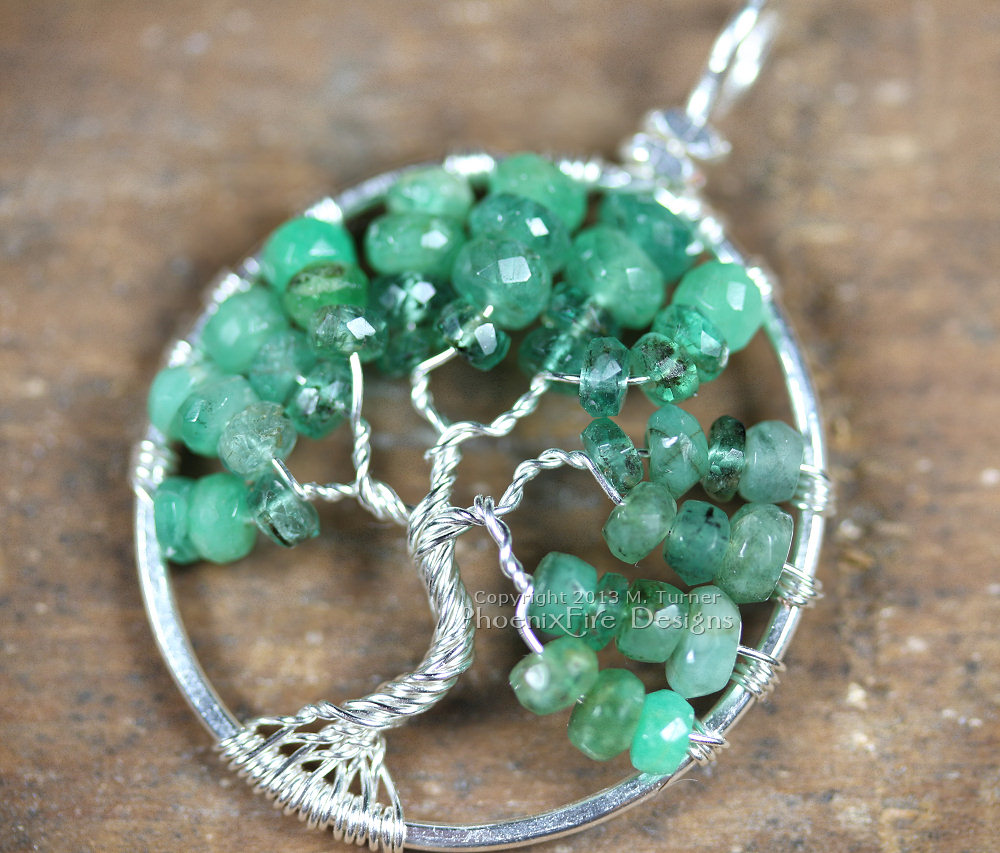 Shaded Ombre Emerald Tree Of Life Pendant May Birthstone