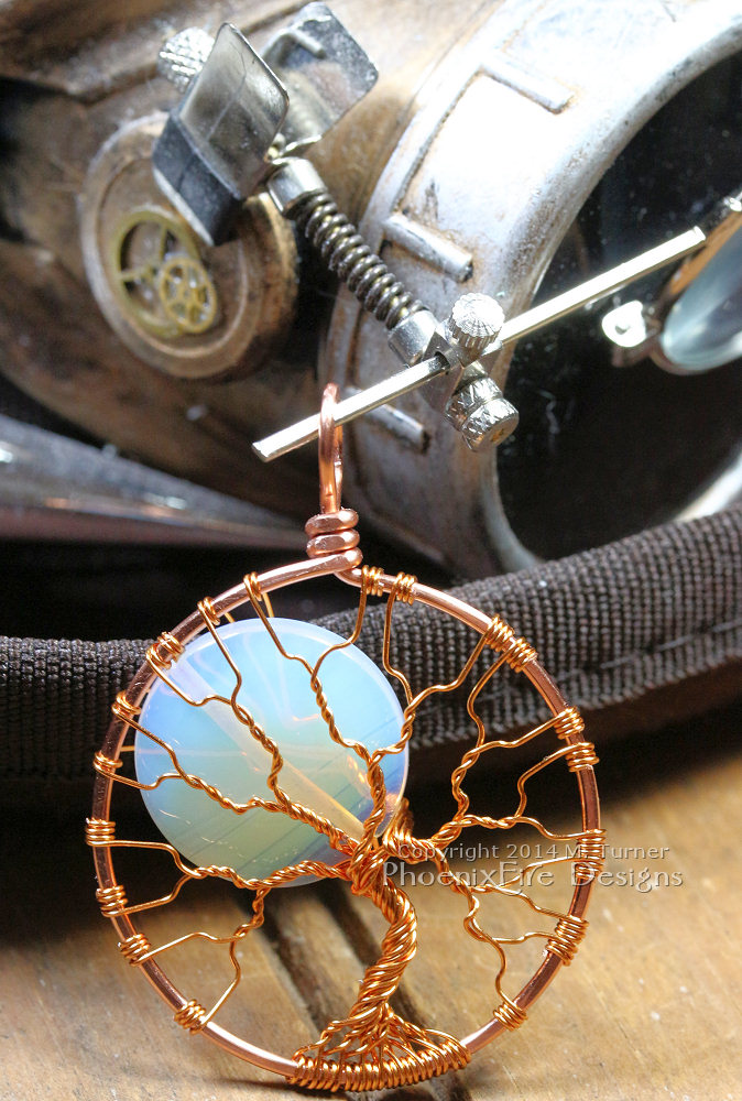 Steampunk inspired tree of life pendant wire wrap tree full moon opalite rainbow moonstone copper wire steampunk accessories and jewelry by Miss M. Turner of PhoenixFire Designs on etsy.