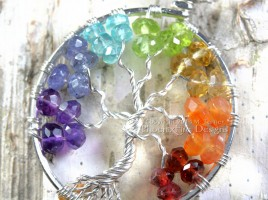 Rainbow Chakra Tree of Life Pendant with stunning micro-faceted rondelle gemstones wire wrapped to form a beautiful handmade necklace. American Made by Maker M. Turner of PhoenixFire Designs on etsy