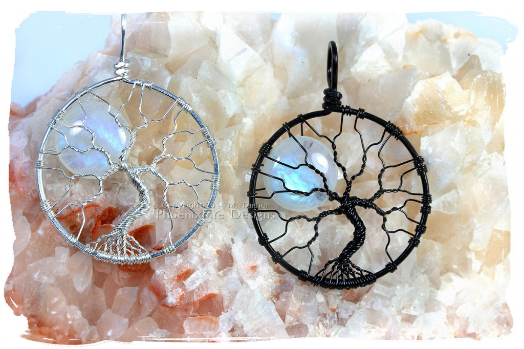Large natural rainbow moonstone full moon tree of life pendant wire wrapped argentium sterling silver non tarnish wire wrap tree etsy by Miss M. Turner PhoenixFire Designs