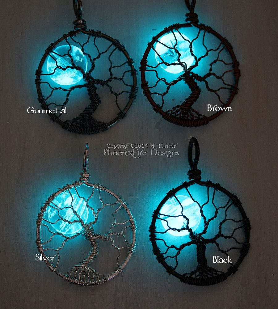 Glow in the dark full moon tree of life pendants by PhoenixFire Designs