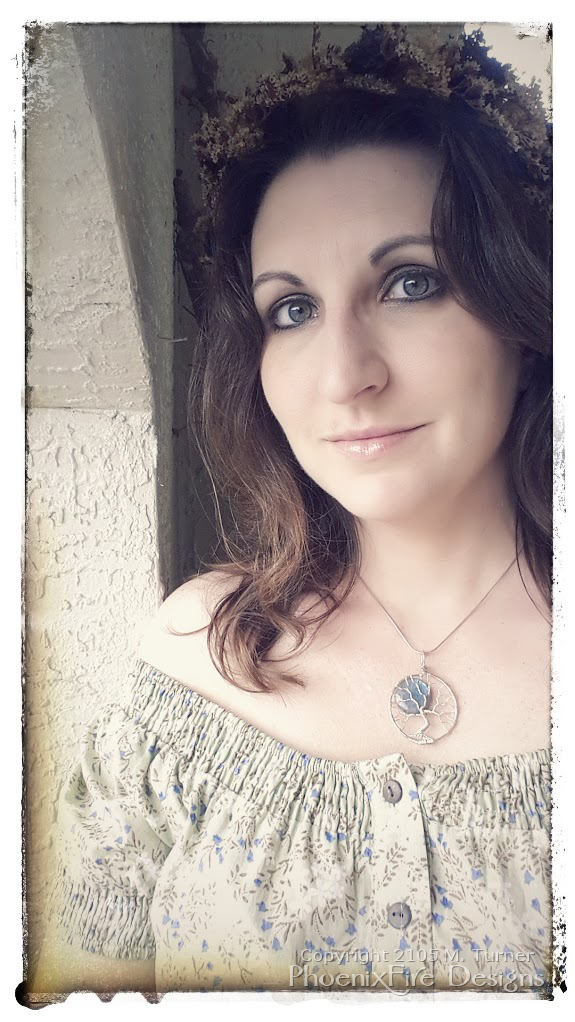 Miss M. Turner of PhoenixFire Designs modeling blue labradorite full moon wire wrapped tree of life pendant. Grey feldspar with blue flash, each pendant is handmade for a unique and beautiful necklace. Pagan ritual jewelry, tree hugger, earth lover, wiccan, boho style.
