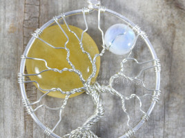 Sun and Moon tree of life pendant wire wrapped yellow jade sol natural blue flash rainbow moonstone luna in silver wire by jewelry artist and maker miss m. turner of phoenix fire designs on etsy.