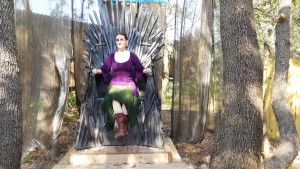 Miss M. Turner (me!) sitting on the Game of Thrones inspired Throne of Swords at the Bay Area Renaissance Festival 2015