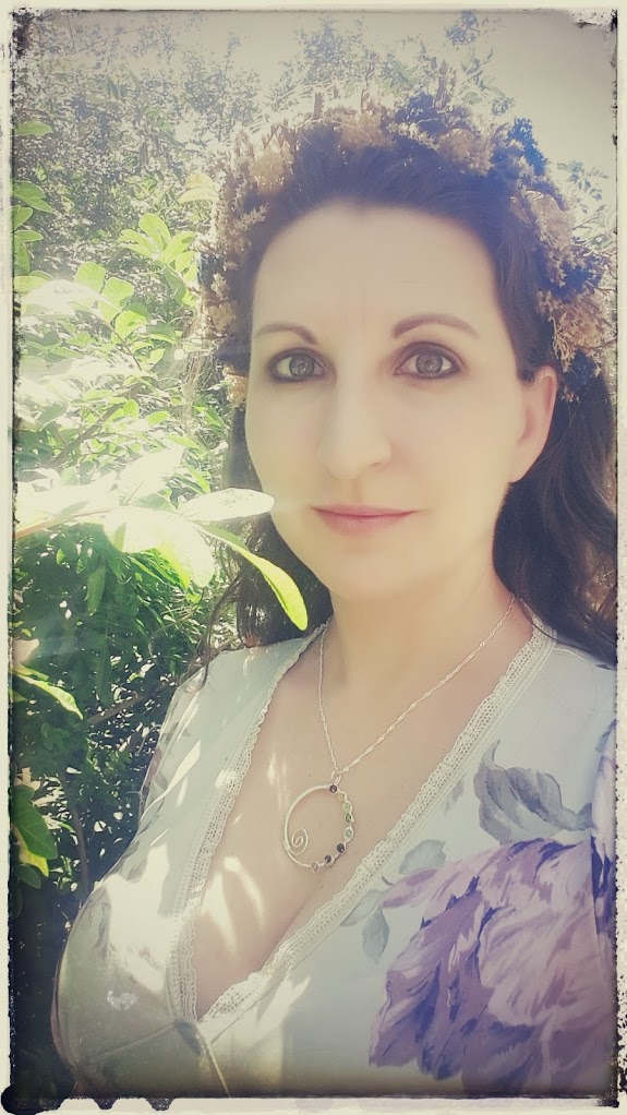 First Day of Spring Look, boho style, flower crown, floral headdress rainbow pendant, handmade wire wrapped jewelry, eternity circle necklace by PhoenixFire Designs on etsy
