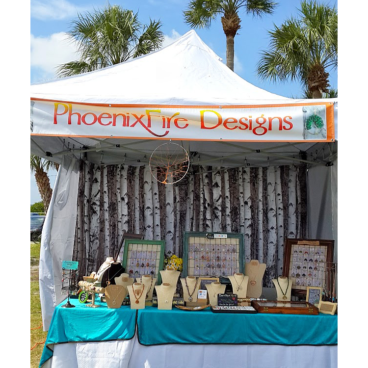 PhoenixFire Designs vendor craft show art show booth handcrafted wire wrapped jewelry, wire tree etsy seller things to do in tampa