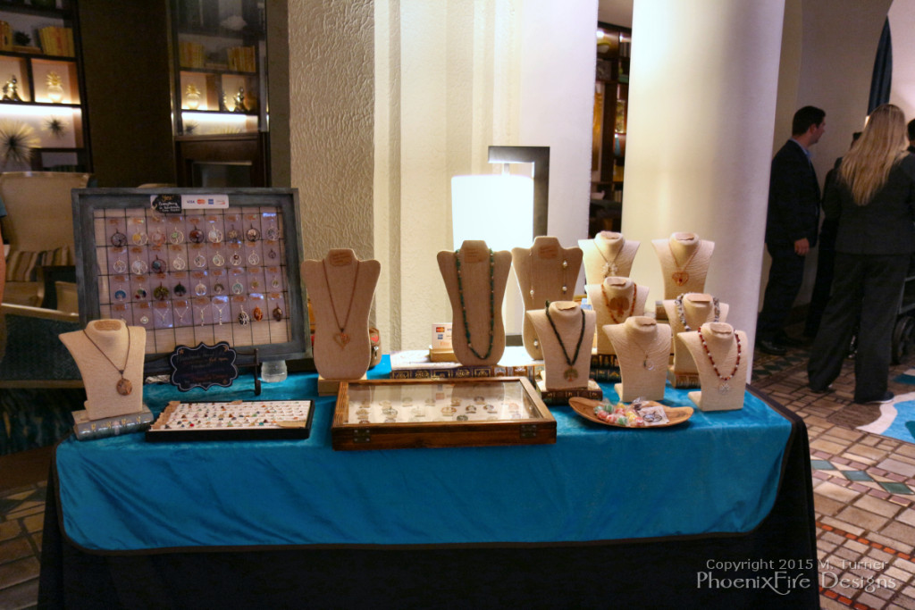 Local artisan jewelry boutique, PhoenixFire Designs exhibition display at the Vinoy Resort St. Petersburg, July 24, 2015