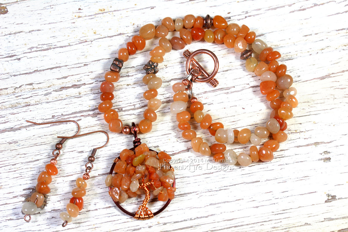Red (Orange) Carnelian Tree of Life and matching earring set in Harvest Autumn Leaves colors by PhoenixFire Designs.