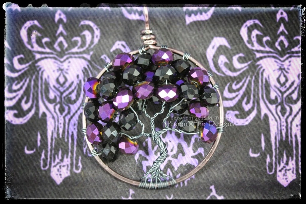 Disney's Haunted Mansion Wallpaper inspired purple and black wire wrapped tree of life pendant. 999 Happy Haunts can't be wrong! By PhoenixFire Designs
