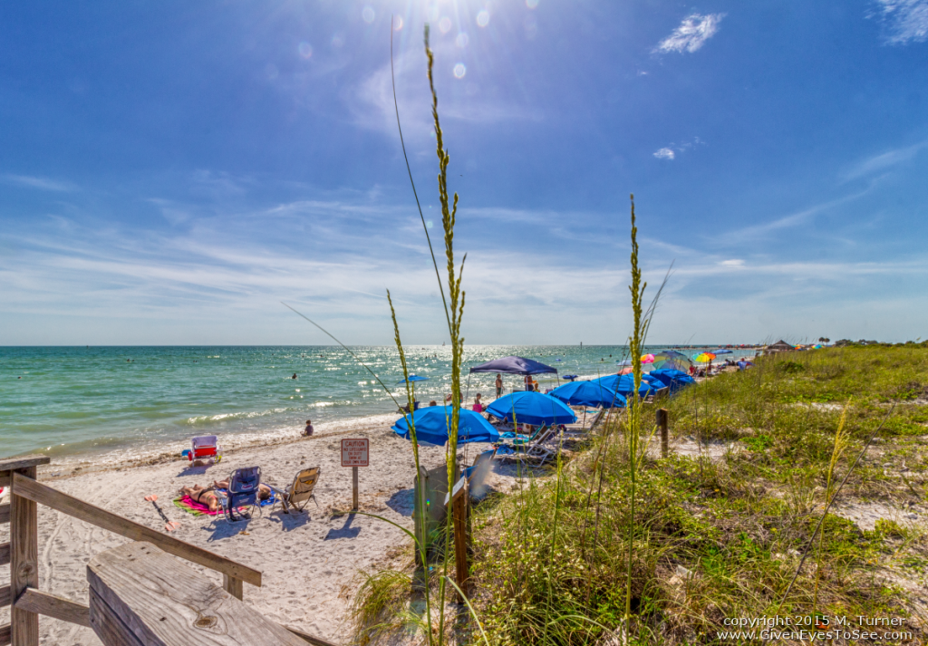 Enjoying a perfect day at the beach! Honeymoon Island in the Gulf of Mexico just north of famous Clearwater Beach on west central coast of Florida, known as the Suncoast.