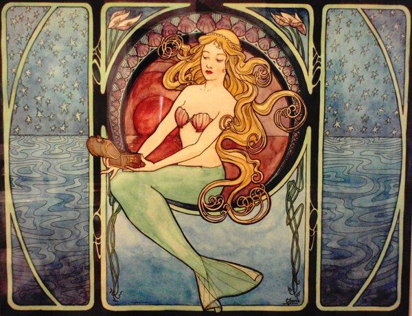 Alphonse Mucha Vintage art nouveau mermaid art.