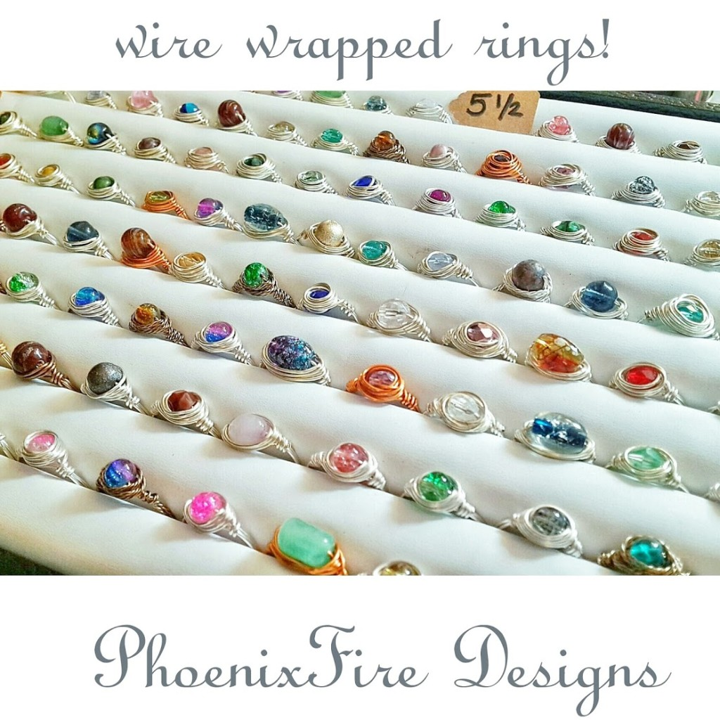 PhoenixFire Designs handcrafted, wire wrapped jewelry including rings available at the TBEC Holiday Market!