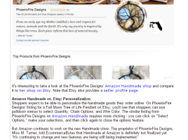 Handcrafted artisan jewelry maker Miss M. Turner of PhoenixFire Designs was interviewed by EcommerceBytes about our Etsy shop and our upcoming Handmade at Amazon storefront.