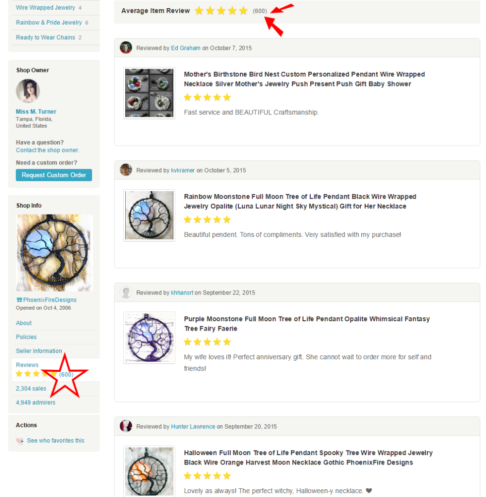 PhoenixFire Designs, handcrafted tree of life pendants, wire wrapped jewelry, wire tree necklaces handmade on etsy since 2006 has just hit a milestone of 600 5-star reviews in our etsy shop!