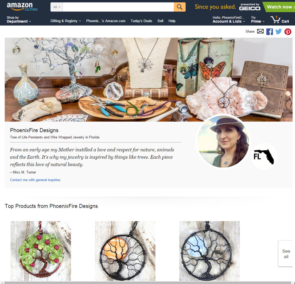 PhoenixFire Designs Handmade at Amazon storefront is live with a selection of our handmade wire wrapped tree of life pendants, handcrafted wire wrap jewelry and more!