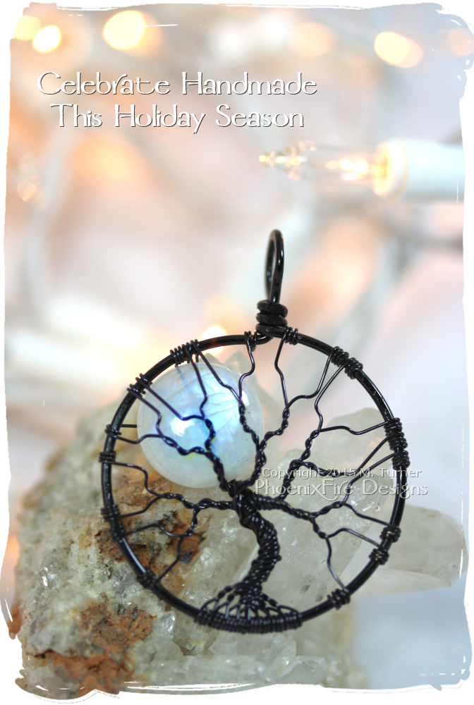 Give the gift of Handmade this holiday season! Light up her holiday with something as unique and beautiful as her. Blue Flash Natural Rainbow Moonstone Full Moon Tree of Life available in black or sterling wire.