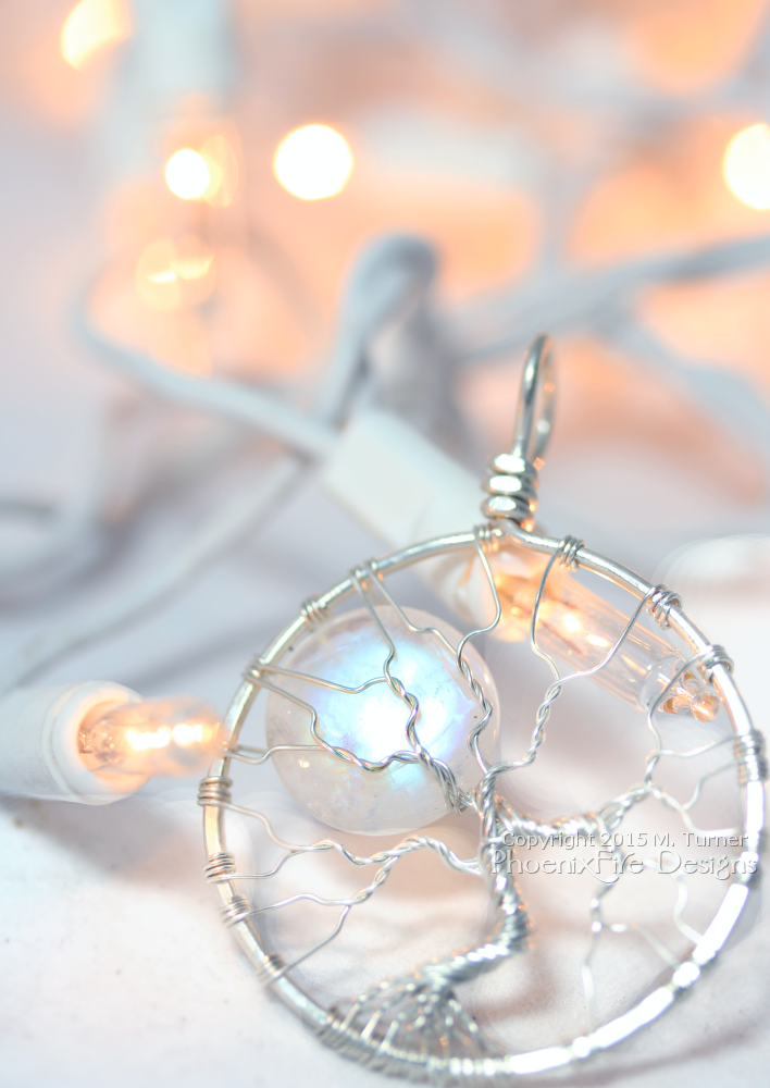 Light up her holiday with something as unique and beautiful as her! Natural rainbow moonstone full moon tree of life pendant wire wrapped in eco-friendly, recycled and reclaimed Argentium sterling silver. Perfect handmade holiday gift idea for her!