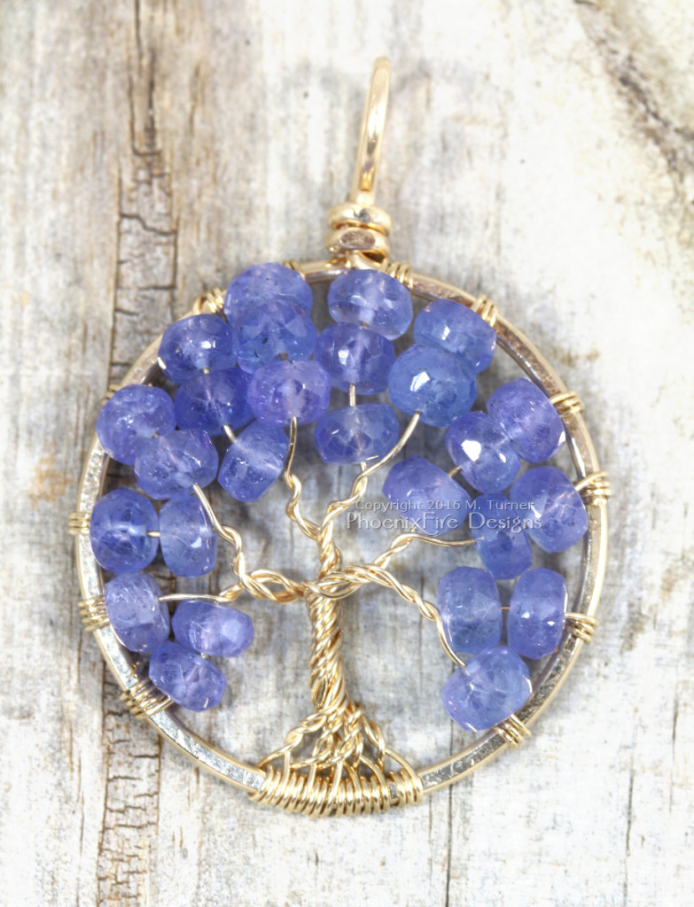 Purple Tanzanite jewelry faceted rondelle gemstones handmade wire wrapped 14k gf wire tree of life pendant. Artisan handcrafted necklace by PhoenixFire Designs.