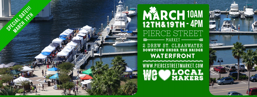 PhoenixFire Designs will be at Pierce Street Market Saturday March 19, 2016 in downtown Clearwater across from Coachman Park, next to the Clearwater Harbor Marina. This free local indie market, craft show, art festival, artisan market, is a great way to shop small and shop local from 10am-4pm with food trucks, makers, local artists, farmers market and more!