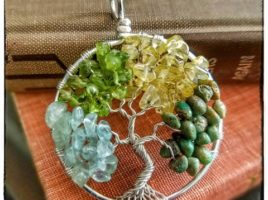 Birthstone Family Tree of Life Pendant, Mother's Day gift idea for her, handmade gemstone jewelry by PhoenixFire Designs, OOAK, custom and personalized to order.