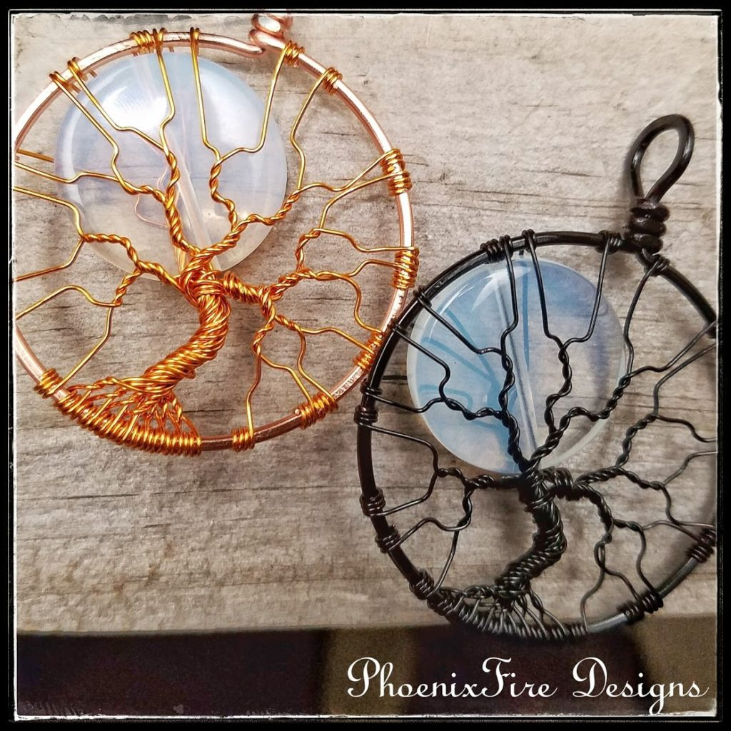 Wire Wrapped tree of life pendant, copper wire full moon and black wire full moon spooky tree necklace by PhoenixFire Designs on etsy.