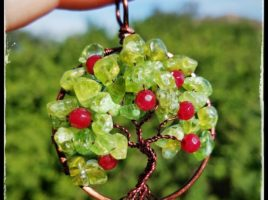 Back to school with an apple for teacher! Get ready for fall with handmade Apple Tree with natural peridot and ruby red jade apples wire wrapped in brown wire handmade by PhoenixFire Designs on etsy.