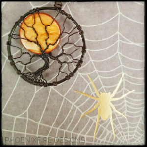 Halloween Harvest Full Moon Black Wire Wrap Orange Black Halloween Tree of Life Pendant Spooky Tree by PhoenxiFire Designs