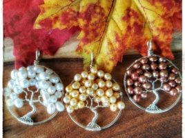 Ivory Pearl, Golden Pearl, Copper Pearl Freshwater Pearl tree of life pendant, bridal necklace, autumn wedding, woodland wedding, birthday gift idea, bride necklace, birthstone jewelry, freshwater pearl necklace handmade jewelry on etsy by PhoenixFire Designs