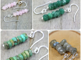 Rose Quartz Blush Pink Earrings, Dark Green Aventurine Stacked Earrings, Turquoise Jewelry, Blue Flash Labradorite Dainty Earrings Handmade gemstone jewelry, gift for her by PhoenixFire Designs on etsy.