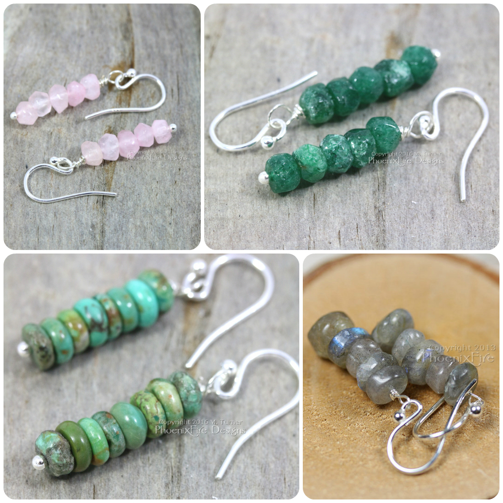 gemstone stacked earrings in quartz emerald green