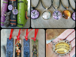 PhoenixFire Designs sale Halloween jewelry, Haunted Mansion necklace, hm wallpaper pendant, metal bookmarks, pumpkin earrings, ouija board necklace and more.