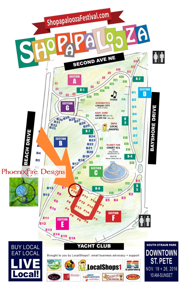 Find PhoenixFire Designs in the Etsy Red Carpet section of Shopapalooza! South Straub Park, Downtown St Petersburg, Saturday November 19th & Small Business Saturday November 26th. Free event, family friendly and pet friendly!