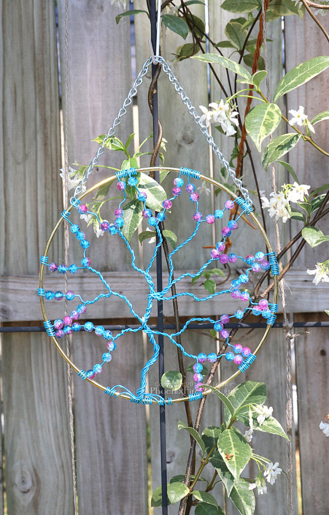 "Large 8"" suncatcher blue wire wrapped tree of life with pink/blue accent galaxy beads, cracked glass beads, garden art, wall decor, forest tree wall art by PhoenixFire Designs."