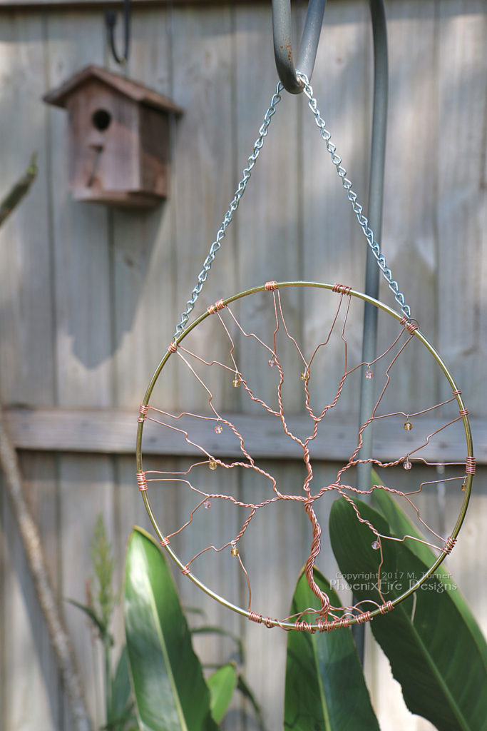 "Copper Wire Tree of Life crystal suncatcher 10"" tree, sun catcher, garden art, wall art, rustic wedding, woodland wedding decor, unique housewarming gift idea by PhoenixFire Designs on etsy."