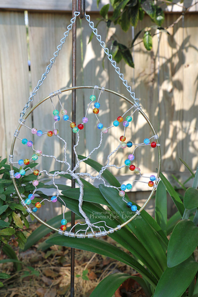 Handmade, wire wrapped tree of life suncatcher with rainbow cracked glass beads, garden art, forest wall art, decorative housewarming gift handmade by PhoenixFire Designs. on etsy.