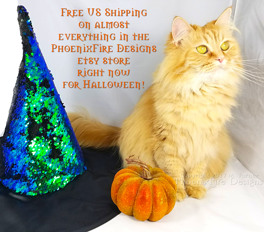 Halloween orange witch cat Ginger free shipping phoenixfire designs halloween jewelry, glow in the dark full moon tree of life, moonstone necklace at etsy. Discount, sale, coupon code for etsy shop!