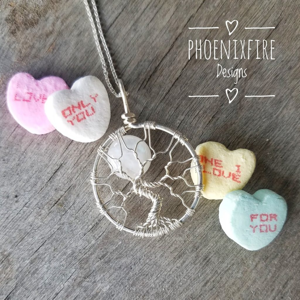 Rainbow Moonstone Full Moon Tree of Life Pendant, Handcrafted artisan fine jewelry by PhoenixFire Designs