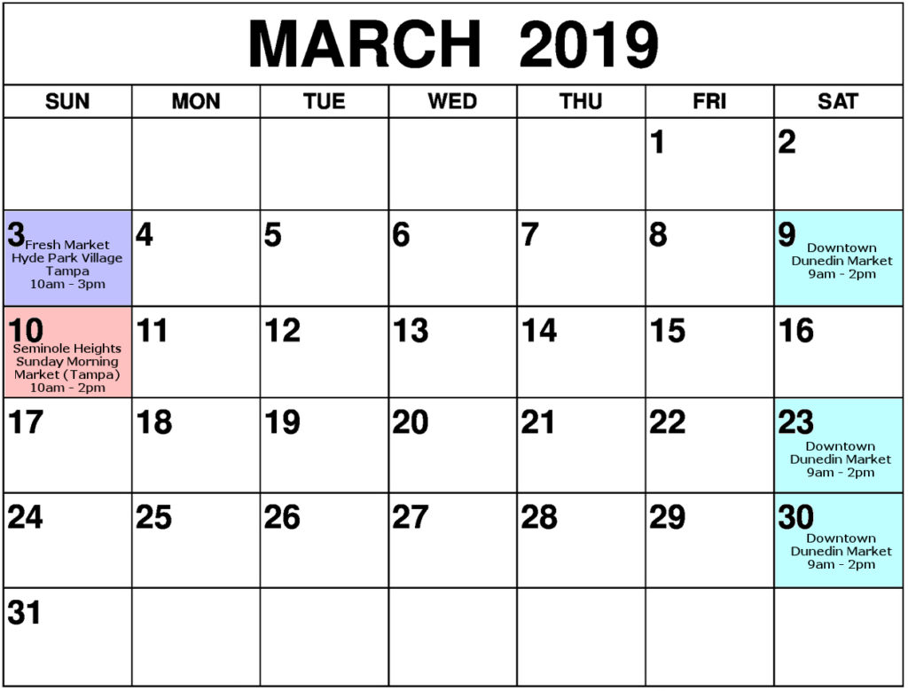 PhoenixFire Designs March Show Schedule Calendar